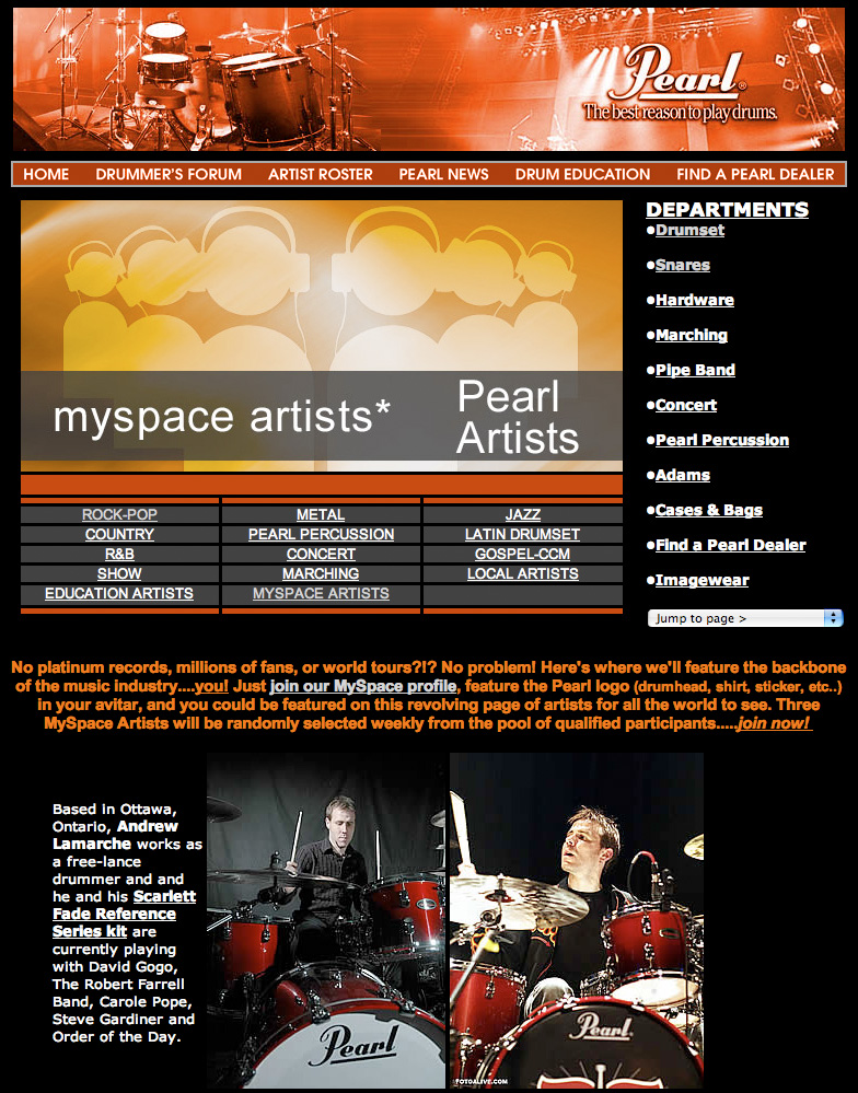 Pearl Drums MySpace Artist