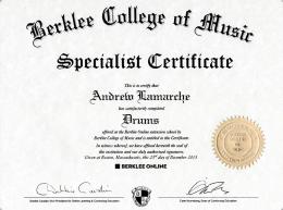 AndrewLamarche-BerkleeDrumsCertificate